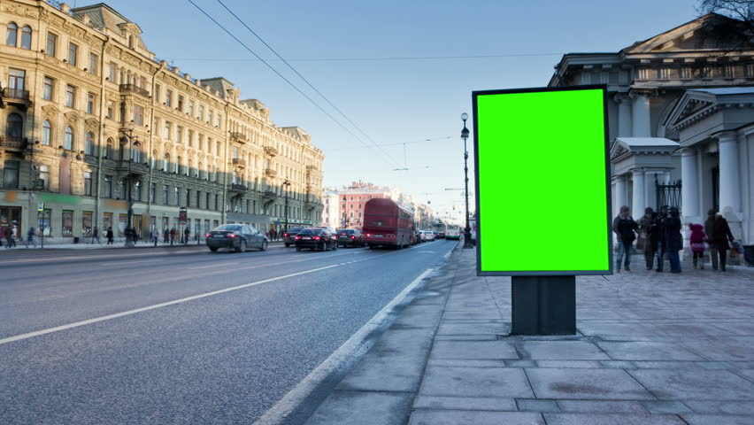 Billboard chromakey. St Petersburg. Russia. timelapse
