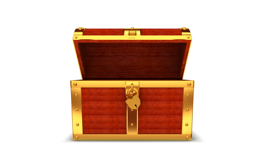 wooden treasure chest with alpha matte stock footage video