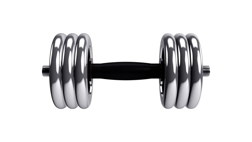 Abstract animation slow rotate a steel Dumbbells on white background with alpha mask. Beautiful Sport background. Different colors background in my profile. Seamless loop. | Shutterstock HD Video #8507692