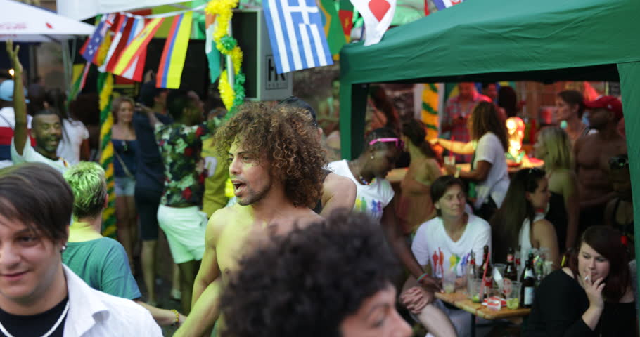 COLOGNE, GERMANY - JULY 7, 2014 Brazilian Party Gay Lesbian Couple Pride Parade People Dance Cologne Festival ( Ultra High Definition, UltraHD, Ultra HD, UHD, 4K, 2160P, 4096x2160 )