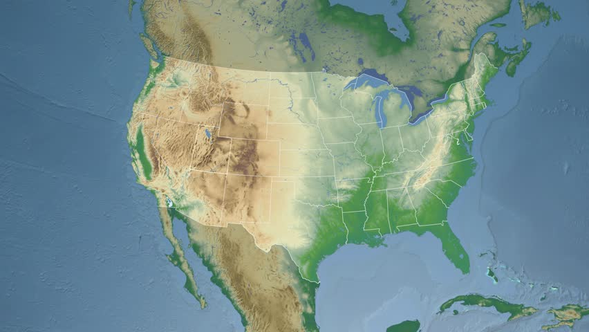 Usa Utah State Salt Lake City Extruded On The Physical Map Of North