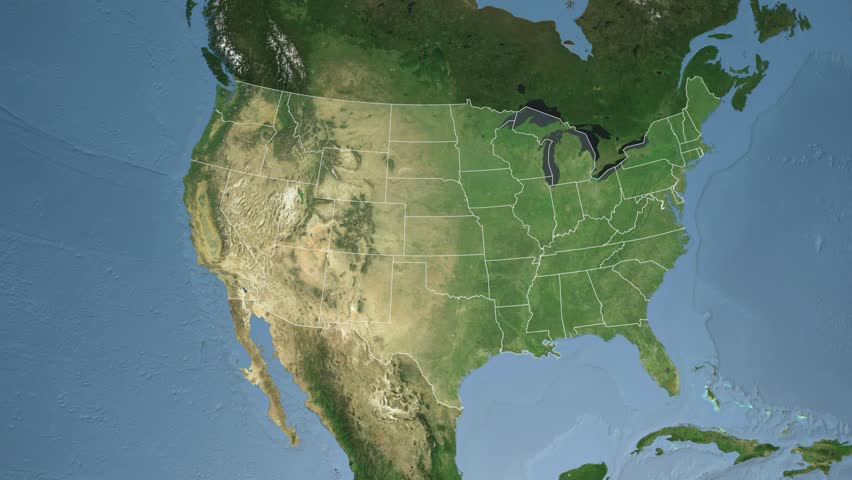 Usa Louisiana State Baton Rouge Extruded On The Satellite Map Of North America