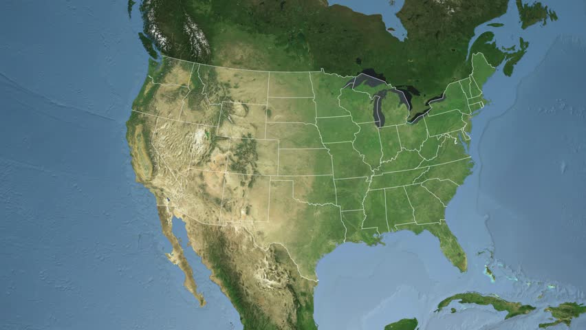 USA - Texas State (Austin) Extruded On The Satellite Map ...