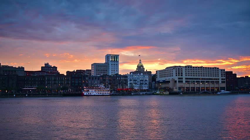 Savannah, Georgia, USA downtown city skyline at the Riverfront during sunset. | Shutterstock HD Video #8515252