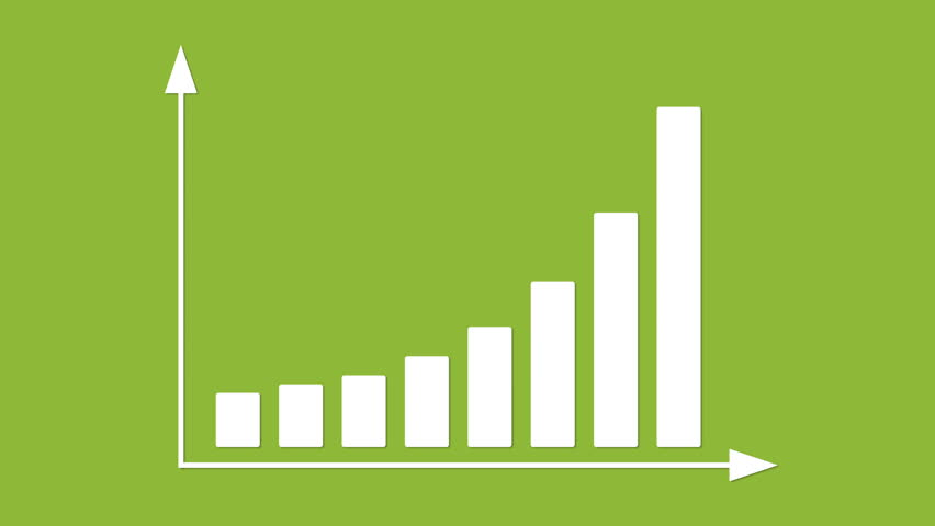 Bar graph with arrows axis. Grow, chart, statistic, business concept. Animation for yours presentation. Available in 4K FullHD HD flat design 2D footage video clip. Infographics in flat design.