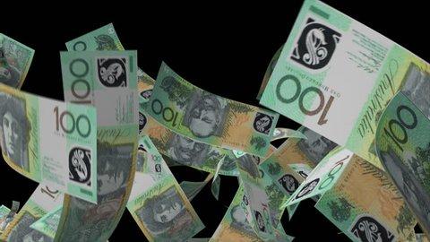 Falling Australian dollar Video Effect simulates Falling 100 Australian dollar banknotes with alpha channel in 4k resolution
