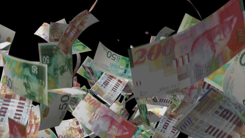 Falling Israeli banknotes money Video Effect simulates Falling Mixed Israeli banknotes money with alpha channel in 4k resolution