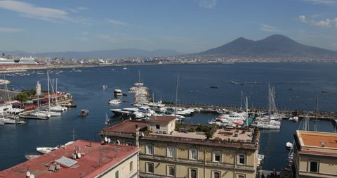 Naples Skyline Porto di Santa Lucia Yachts Sailing Boats Passing Mount Vesuvius ( Ultra High Definition, UltraHD, Ultra HD, UHD, 4K, 2160P, 4096x2160 )