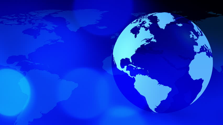 World map news media topics broadcast loop able media background blue world globe and map 4k stock footage clip gumiabroncs Image collections