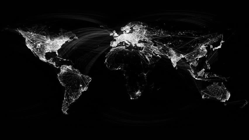 Network Lines Lighting Up World Map 4K. Black and White Version. Very detailed. Can be used as a high resolution texture or projection map.   Shutterstock HD Video #8562799