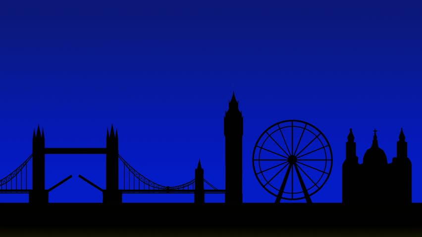 London Skyline with Fireworks, Animation