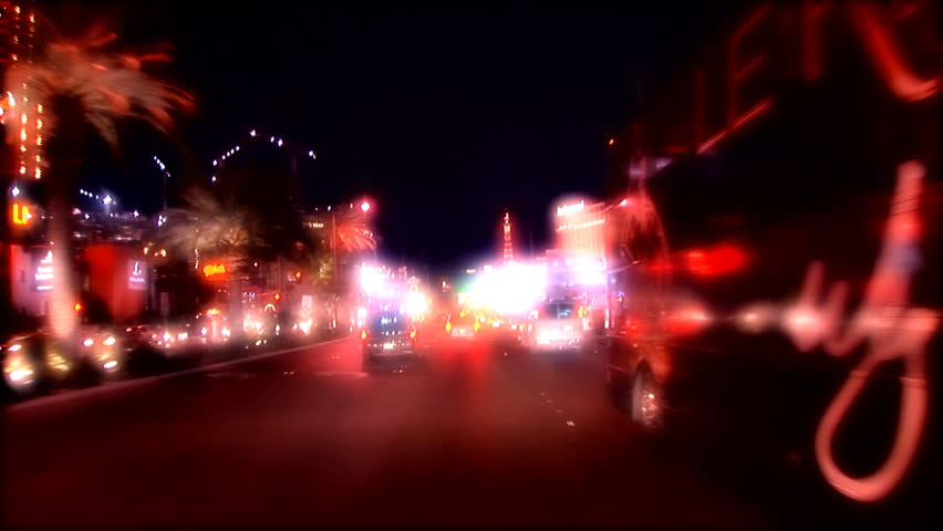 Cruising down the strip in Las Vegas, USA(lights out of focus)