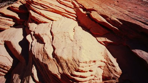 Weathering. Texture of the sedimentary rock. Dolly shot