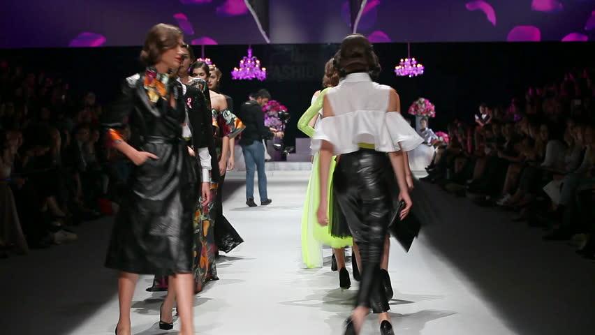 ZAGREB, CROATIA - OCTOBER 18, 2014: Fashion models wear clothes designed by Ana eNVy room - Croatian fashion brand on the 'Fashion.hr' fashion show