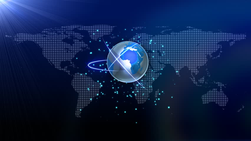 Computer Rendered Animation For News TV Channel With Turning Luminous Blue Earth Abstract Background