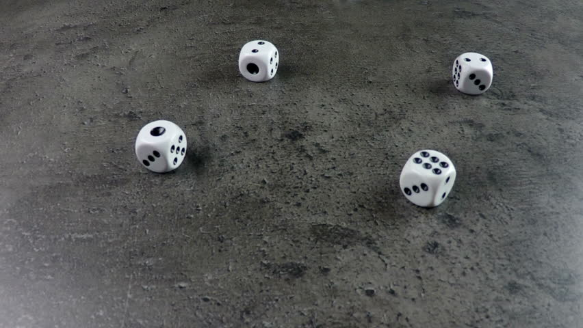 Collection of slow motion clips of dice cast, thrown, falling on concrete surface | Shutterstock HD Video #8625499