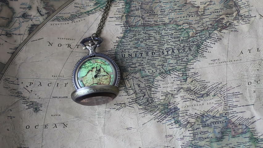 Old clock or ancient nautical instrument animation of cogs pocket watches on world map 4 hd stock video clip gumiabroncs Choice Image