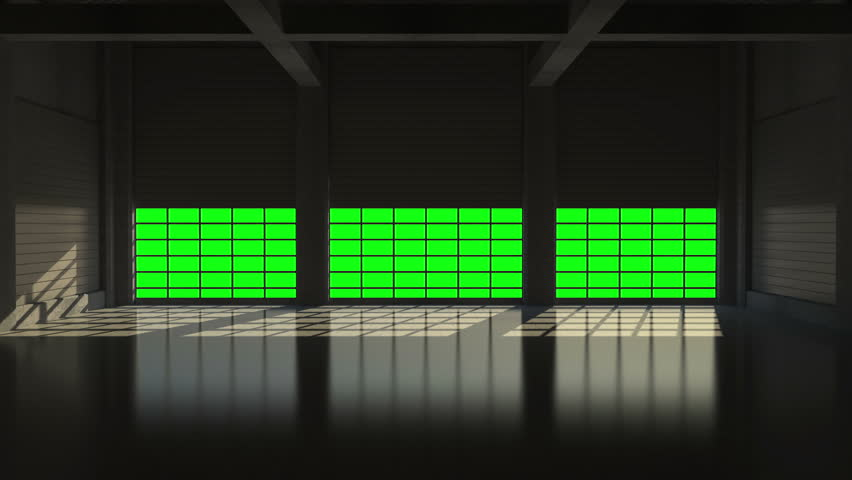4K Animation of Opening Metal Blinds in Modern Hangar with Big Windows. 4K Ultra HD 3840x2160 Animation Video Footage with Green Screen