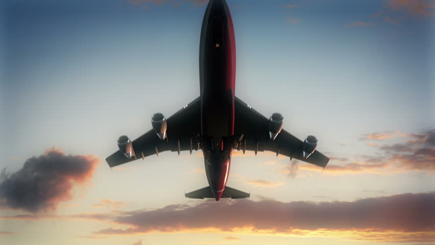Commercial airline taking off in slow motion