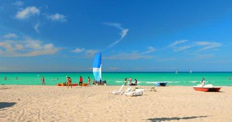 Cuba and Canadian Flags, Tropical Varadero Beach Cuba
