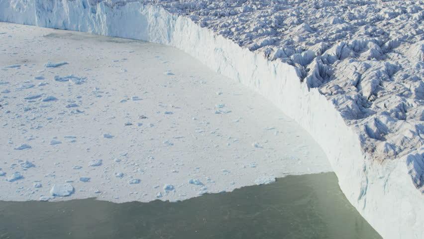 Aerial Greenland Disko Bay glacier Arctic Circle moraine melting Global warming iceberg landscape geography travel RED EPIC | Shutterstock HD Video #8659402