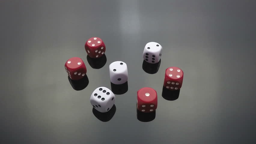 Collection of slow motion clips of red and white dice cast, throw, falling on black reflective surface | Shutterstock HD Video #8668762