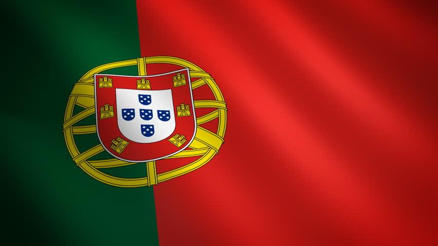 Portugal looping flag waving in the wind