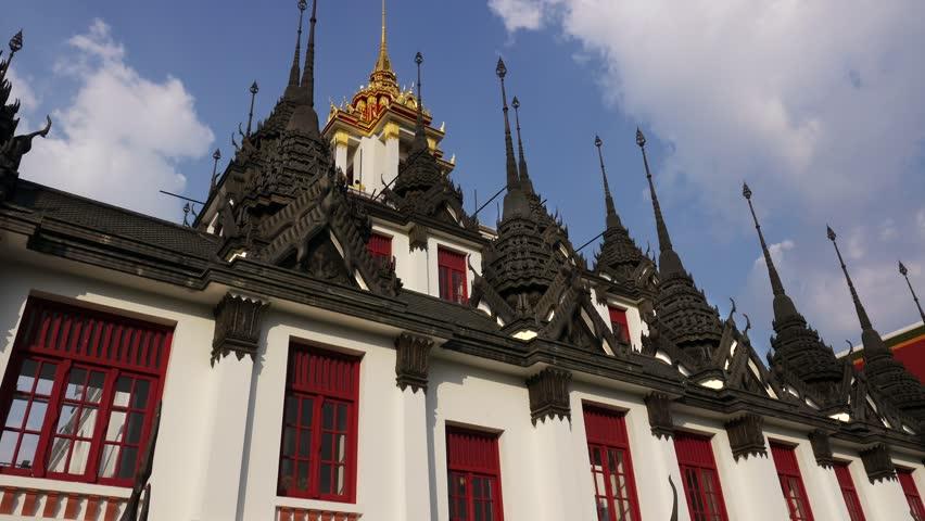 Timelapse Stock 4 Video Footage 4K Wat Ratchanatdaram Religion HDV Bangkok Buddhist Temple Architecture 37
