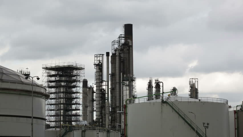View of big oil refinery of a sky background | Shutterstock HD Video #8729092