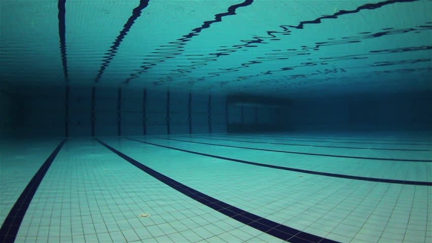 Empty Olympic Swimming Pool Underwater Wide Angle Stock Footage