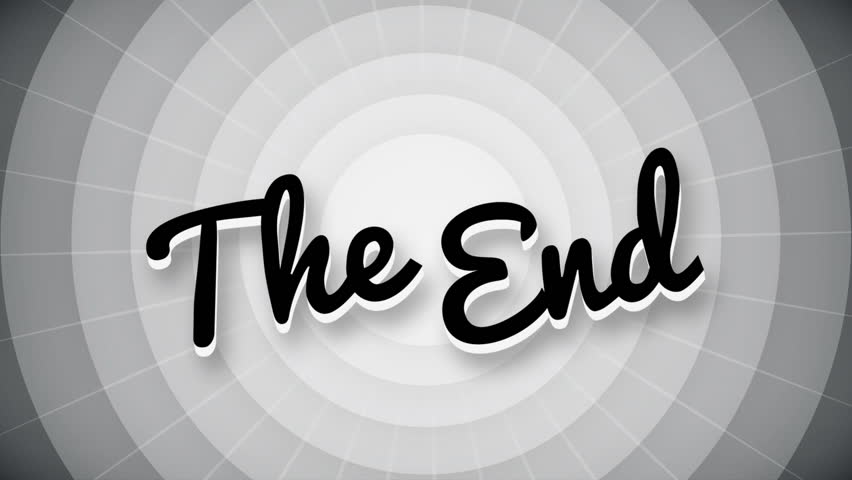 The end typography old movie animation title screen. full hd.