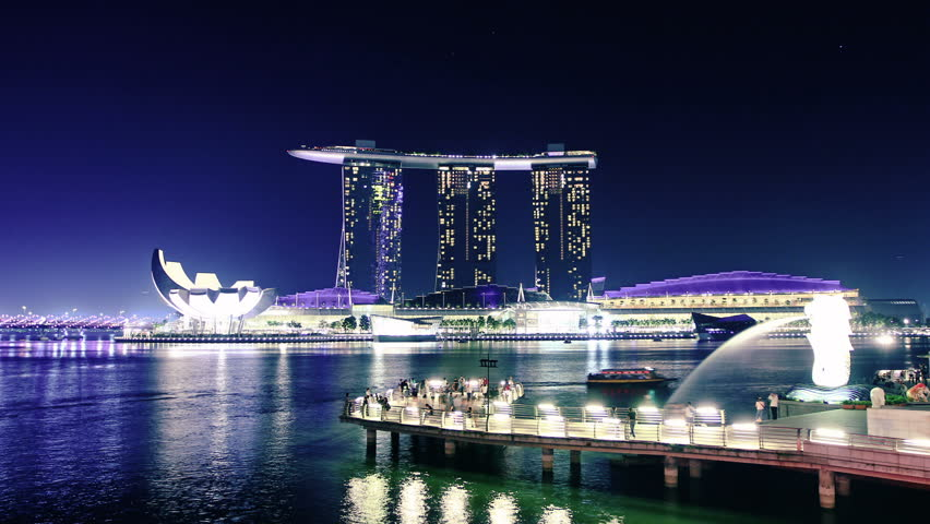 singapore skyline at night time lapse stock footage video 8742766 shutterstock. Black Bedroom Furniture Sets. Home Design Ideas