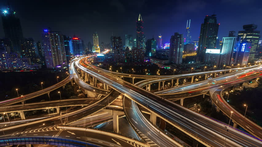 night light traffic multi-level junction 4k time lapse from shanghai #8749348