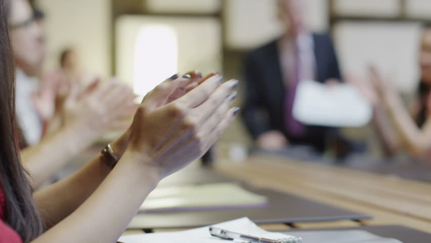 4K Mixed ethnicity business team in boardroom meeting applaud the speaker | Shutterstock HD Video #8751172