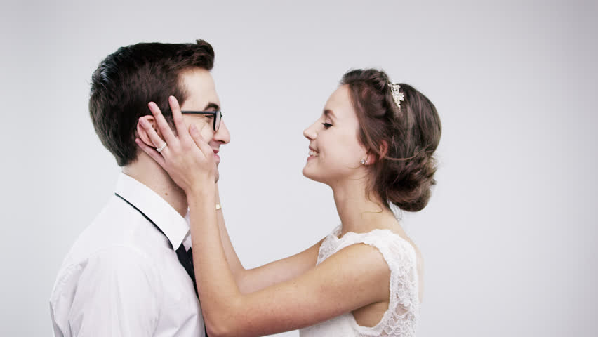 Married couple kissing slow motion wedding photo booth series