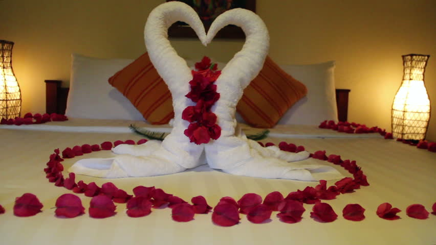 Romantic Hotel Room With Swan Towels Stock Footage Video 8781592 ...