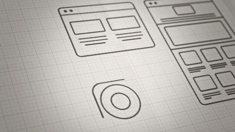 Stylized Interface design process sketch animation concept. Technology drawing animation. Different colors in my profile.