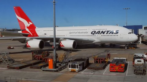 SYDNEY, AUSTRALIA -CIRCA January 2015: a qantas airbus A380  waiting at the gate at Sydney Airport