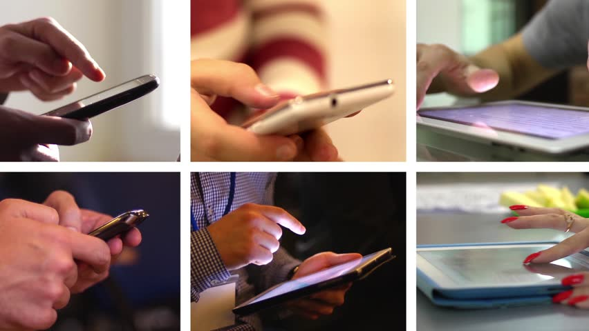 Collage of sliding and typing touch screen of smart phone and tablet computer