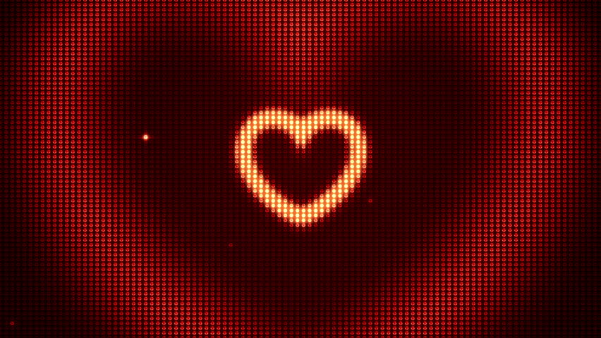 Heart shape on digital screen. Seamless loop animation. Different colors and shapes in my profile.