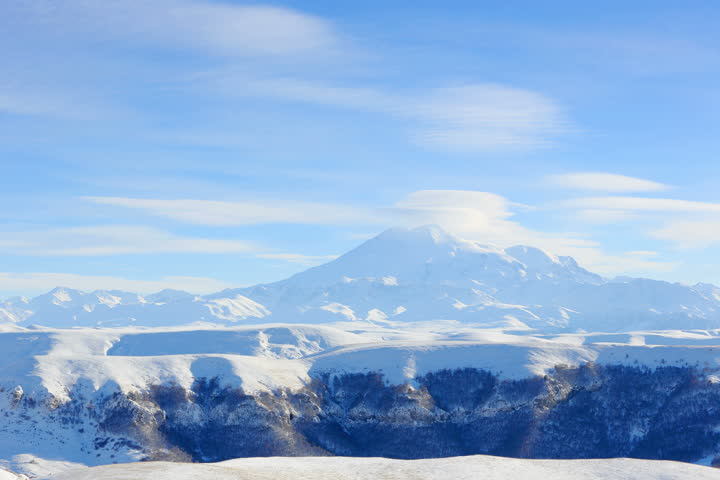 4K. Movement of the clouds on the mountains Elbrus, Northern Caucasus, Russia. Ultra HD, 4096x2730.  | Shutterstock HD Video #8888632
