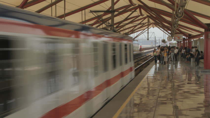 MONTERREY, NUEVO LEÓN, MEXICO - CIRCA 2015, TIME LAPSE 4K: Time Lapse of the Metrorrey at Monterrey Mexico in a sunny and busy day, circa 2015 in Monterrey Mexico