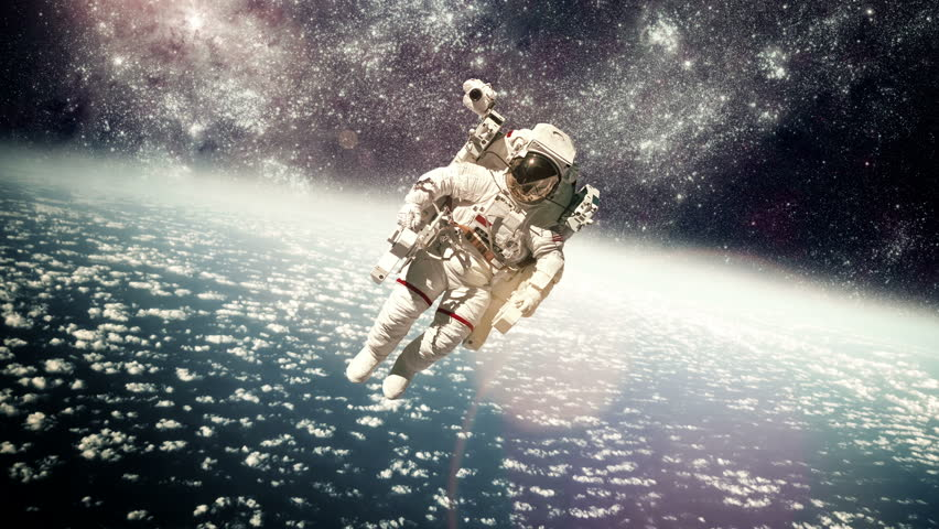 Astronaut in outer space against the backdrop of the planet earth. Elements of this image furnished by NASA. | Shutterstock HD Video #8898178