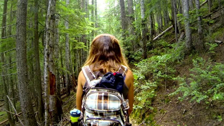 Follow Cam View of a Woman on Forest Trail   Shutterstock HD Video #8909134