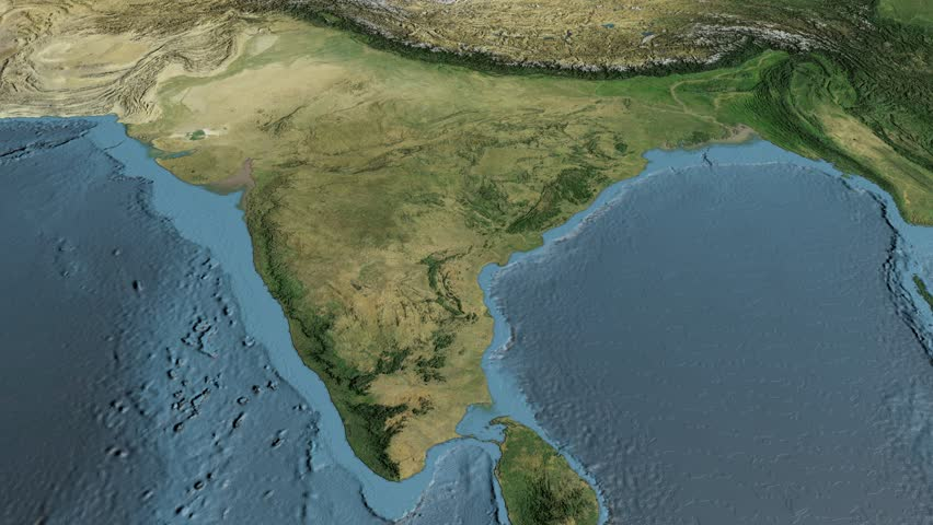 Glide Over The Satellite Map Of India Country Area Highlighted - World map by satellite of india