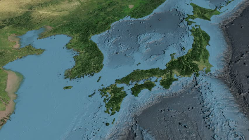 Glide Over The Satellite Map Of Japan Country Area Highlighted - Japan map satellite