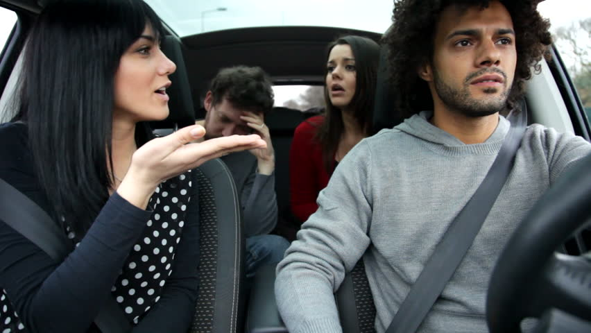 Four Friends Fighting While Driving Car Stock Footage Video