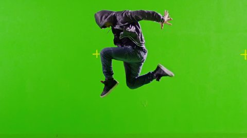 FEW SHOTS! Professional Hip Hop break dance. Dancing on Green screen. Few shots. Slow motion.