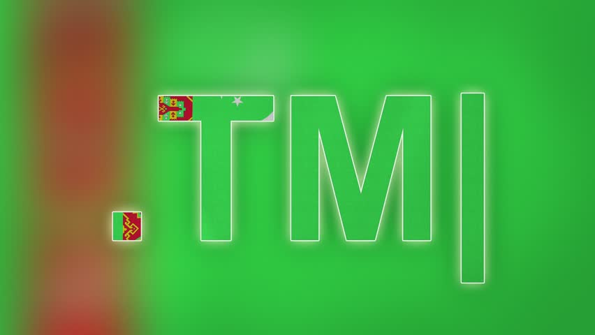 """TM - internet domain of Turkmenistan. Typing top-level domain """".TM"""" against blurred waving national flag of Turkmenistan. Highly detailed fabric texture for 4K resolution. Clip ID: ax1053c"""