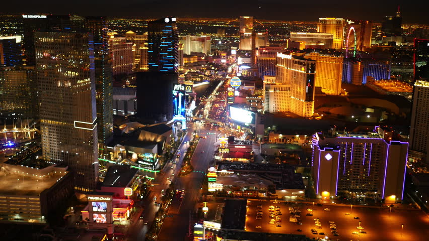 Las Vegas, Nevada, USA - November 26, 2014: Aerial view of Las Vegas Strip at night